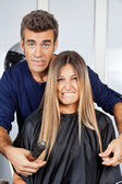 Hair Dresser And Client Making Faces — Stock Photo