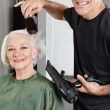 Hair Stylist Blow Drying Senior Woman's Hair - Stock Photo