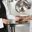 Chef Giving Pasta Dish To Waiter — Stock Photo