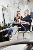 Female Customers Waiting In Hair Salon — Stock Photo