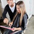 Hairdresser And Customer With Digital Tablet — Stock Photo