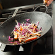 Chef Cooking Vegetables In Wok — Stock Photo