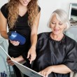 Client And Hairdresser Choosing Hair Color - Stockfoto