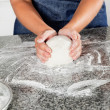 Female Chef Kneading Dough — Stock Photo