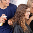 Hairdresser Fixing Woman's Hair With Spray — Stock Photo