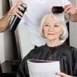 Stock Photo: Hairstylist Setting Up Client's Hair At Salon