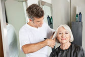 Client Getting Haircut By Hairstylist — Stock Photo