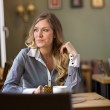 Woman Looking Away At Cafe — Stock Photo