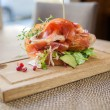 Parma Ham Sandwich On Wooden Plate — Stock Photo