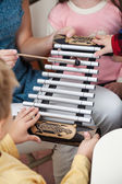 Teacher And Students Playing Xylophone In Class — Stock Photo