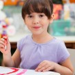 Stock Photo: Cute Little Girl Painting In Art Class