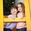 Girl With Friend Playing In Playhouse — Stock Photo