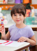Cute Little Girl Painting In Art Class — Stock Photo