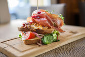 Tasty Parma Ham Sandwich On Wooden Plate — Stock Photo