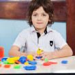 Little Boy With Construction Blocks Playing In Class — Stock Photo