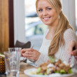 Stock Photo: Young WomHaving Food At Coffeeshop