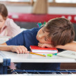 Stock Photo: Boy Sleeping While Girl Studying In Background