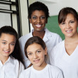 Teacher And Female Students In Science Lab — Stock Photo
