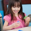 Girl Playing With Construction Blocks In Classroom — Stock Photo