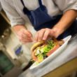 Chef Preparing Gourmet Hamburger — Stock Photo #26908693