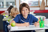 Schoolboy Smiling While Sitting With Classmates In A Row At Desk — Stock Photo