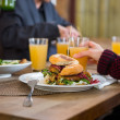 Tasty Burger On Plate — Stock Photo