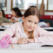 Portrait Of Schoolgirl Drawing In Book — Stock Photo