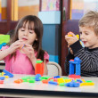 Children Playing With Blocks In Classroom — Stock Photo