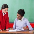 Teacher And Schoolgirl Reading Together At Desk — Stock Photo #27597851