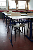 Desk And Chairs In A Row At Classroom — Foto de Stock