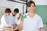 Happy High School Student With Molecular Structure In Lab — Stock Photo