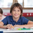 Cute Schoolboy Smiling In Classroom — Stock Photo