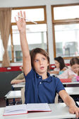 Cute Schoolboy Raising Hand In Classroom — Stock Photo