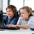 Boy And Girl Using Desktop Pc In School Computer Lab — Stock Photo
