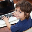 Little Boy With Laptop In Preschool — Stock Photo