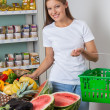 Woman Shopping Fruits And Vegetables In Store — Stock Photo