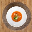 Tomato Soup On Table — Stok fotoğraf