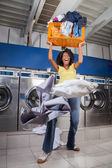 Woman Screaming While Carrying Overloaded Laundry Basket — Stock Photo