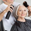 Stock Photo: WomGetting Her Hair Styled