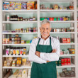 Senior Male Owner Standing In Supermarket — Stock Photo #28997425