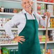 Stock Photo: Senior Male Owner Standing Against Shelves In Store