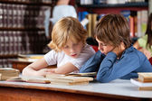Little Boys Reading Book Together In Library — Stock Photo