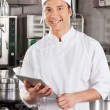 Handsome Chef With Tablet Computer — Stock Photo