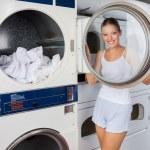 Woman Looking Through Washing Machine Lid — Stock Photo