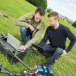 Engineers Repairing UAV Helicopter — Stock Photo