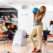 Woman Holding Bowling Ball in Club — Foto de Stock