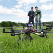UAV Octocopter And Technicians At Park — Stock Photo
