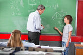 Schoolboy Asking Question To Teacher While Solving Mathematics — Stock Photo