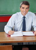 Male Teacher Sitting With Pen And Binder At Desk — Stock Photo
