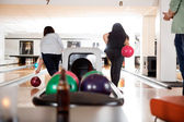 Women Playing in Bowling Alley — Stock Photo